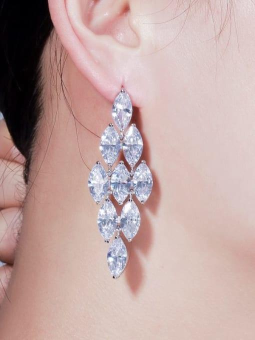 L.WIN Brass Cubic Zirconia Flower Luxury Drop Earring 1