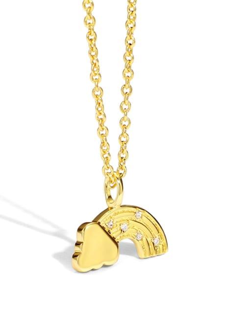 Gold Brass Rhinestone Irregular Vintage Necklace