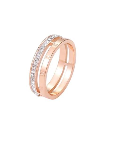 MIYA Titanium Steel Rhinestone Round Minimalist Stackable Ring 0