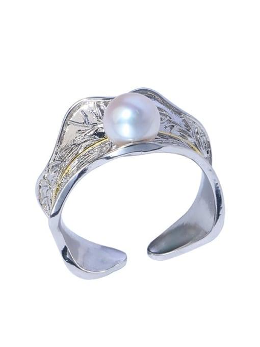 RAIN Brass Freshwater Pearl Irregular Vintage Band Ring