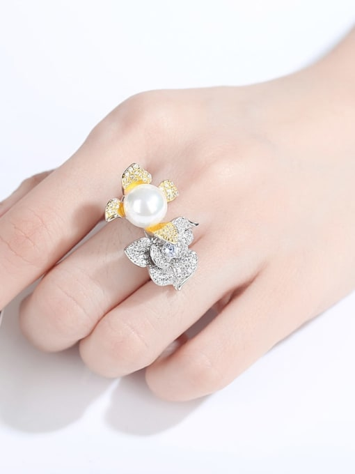 CCUI 925 Sterling Silver Cubic Zirconia Flower Luxury Band Ring 1