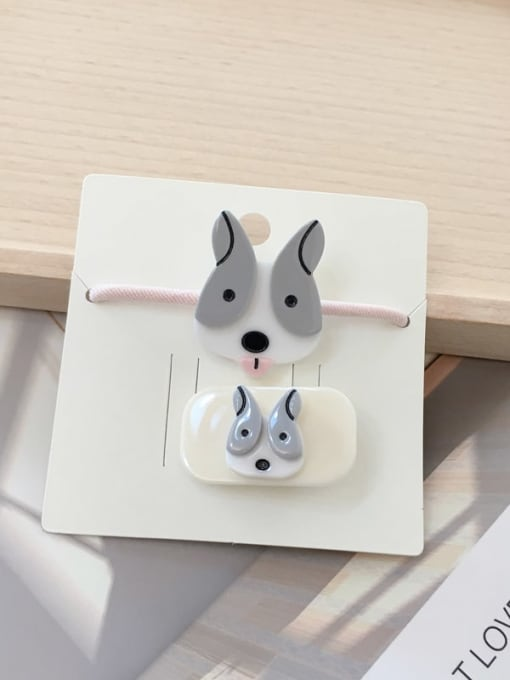 15 husky Alloy Acrylic Cute Children cartoon animal fruit Hairpin Rubber band Set