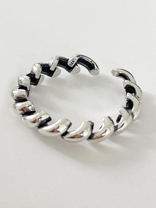 Scroll diagonal ring j1578 1.5g 925 Sterling Silver Twist Irregular Vintage Band Ring