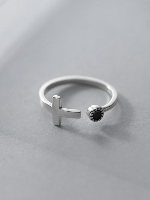 Rosh 925 Sterling Silver Enamel Cross Minimalist Band Ring 1