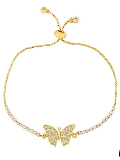 CC Brass Cubic Zirconia Butterfly Vintage Adjustable Bracelet