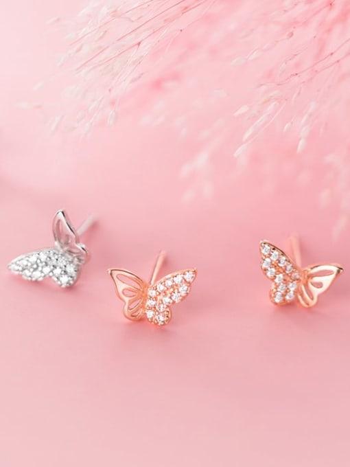 Rosh 925 Sterling Silver Cubic Zirconia Butterfly Minimalist Stud Earring 0