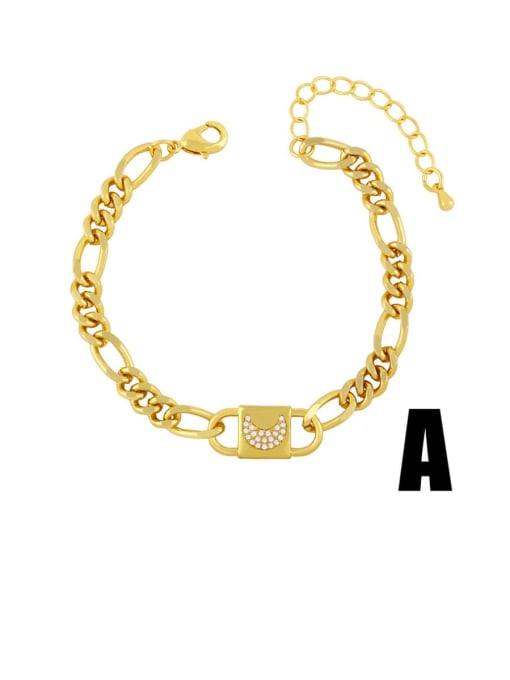 CC Brass Cubic Zirconia Moon Vintage Link Bracelet
