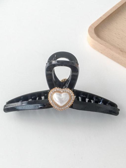 Black heart 11cm Alloy Rhinestone Plastic Vintage Geometric  Jaw Hair Claw