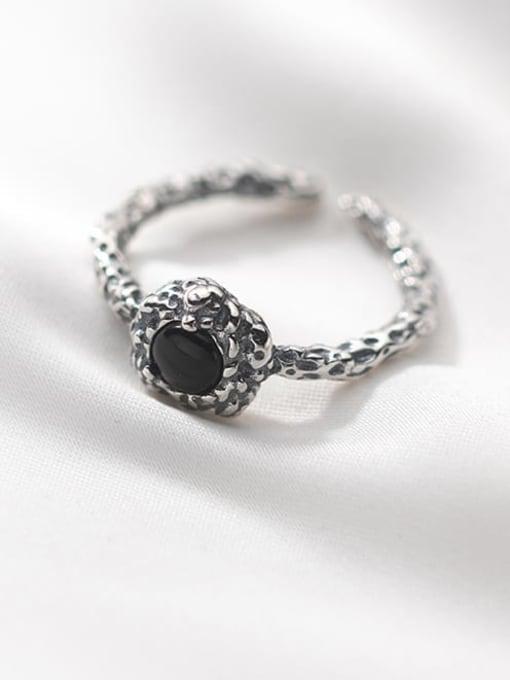 Rosh 925 Sterling Silver Carnelian Geometric Vintage Band Ring