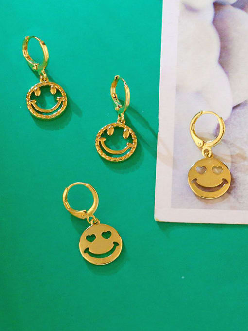 CC Brass Rhinestone Smiley Hip Hop Huggie Earring 2