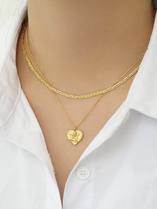 Dak Phoenix 925 Sterling Silver Heart  angel Vintage pendant Necklace 3