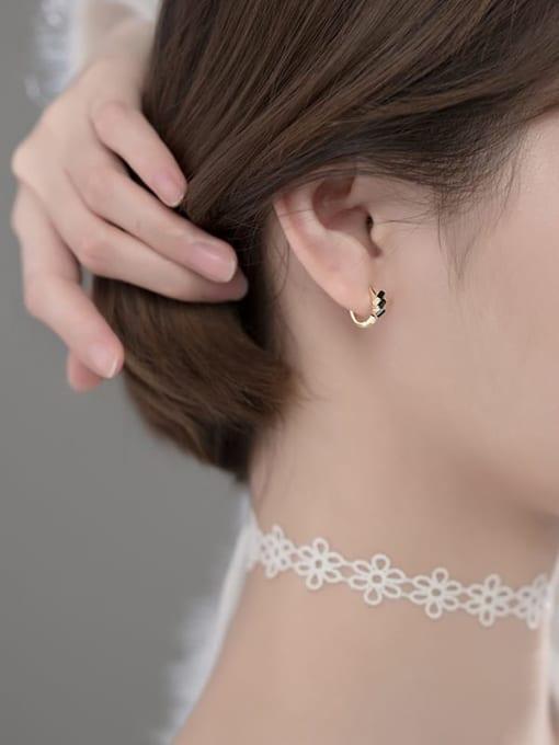 Rosh 925 Sterling Silver Cubic Zirconia Irregular Cute Huggie Earring 3