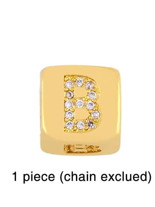 B Brass Cubic Zirconia square Letter Minimalist Adjustable Bracelet