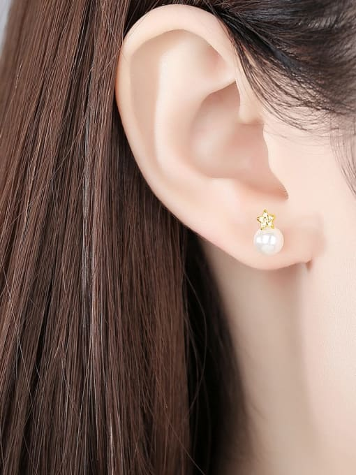CCUI 925 Sterling Silver Cubic Zirconia Geometric Minimalist Stud Earring 1