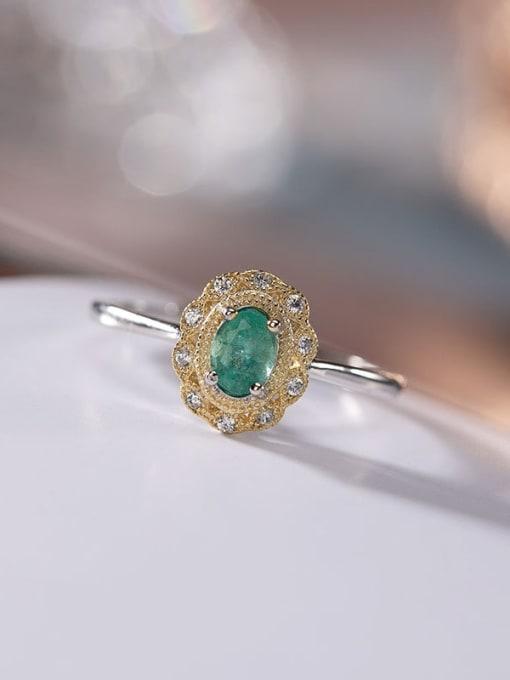 DEER 925 Sterling Silver Emerald Geometric Vintage Band Ring 3