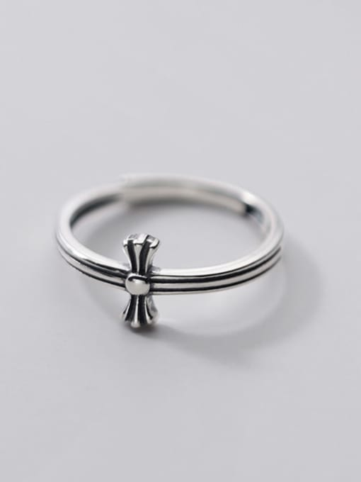 Rosh 925 Sterling Silver Cross Hip Hop Band Ring 2