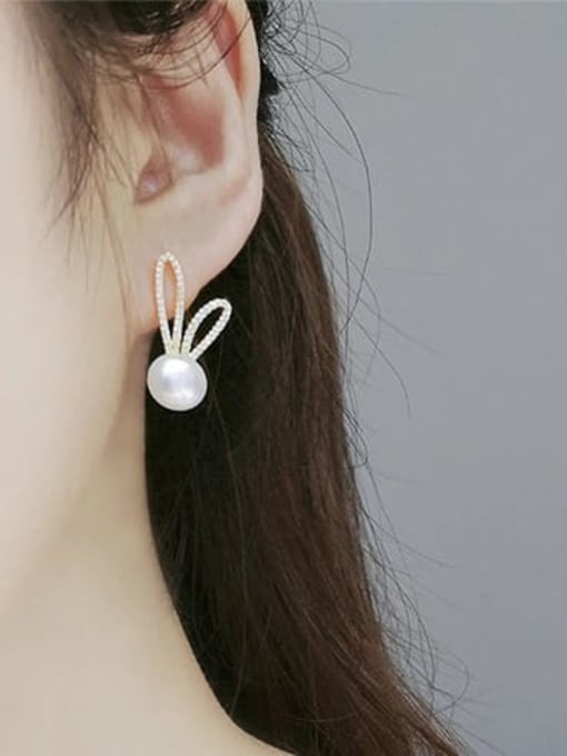 RAIN Brass Cubic Zirconia Irregular Minimalist Rabbit ears Stud Earring 1