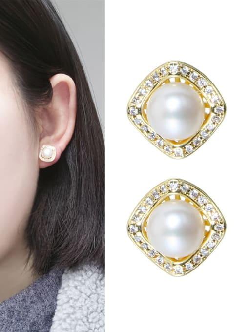 RAIN Brass Freshwater Pearl Minimalist Geometric  Earring Ring and Necklace Set 1
