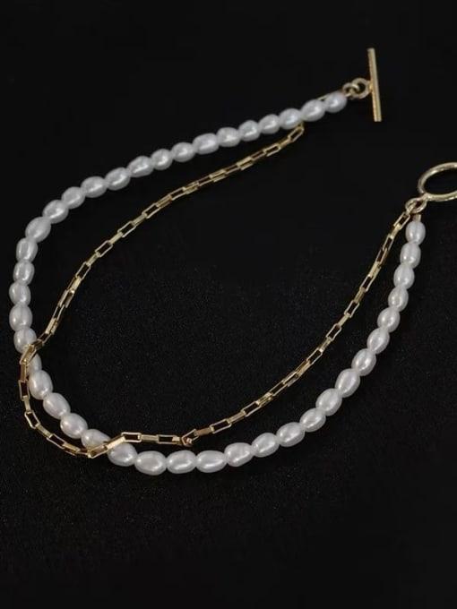 LI MUMU Titanium Steel Imitation Pearl Geometric Vintage Strand Bracelet 1