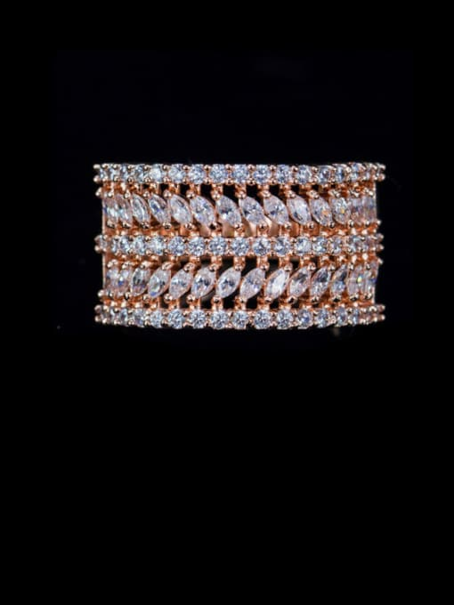 Rose Gold US 6 Brass Cubic Zirconia Geometric Luxury Statement Ring