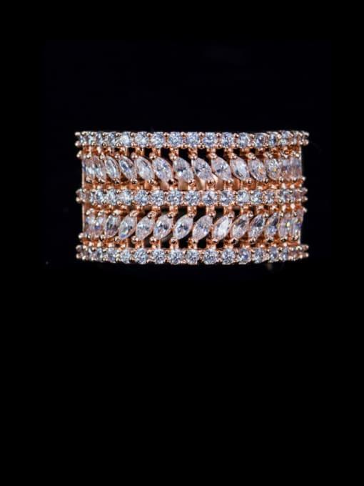 Rose Gold US 7 Brass Cubic Zirconia Geometric Luxury Statement Ring