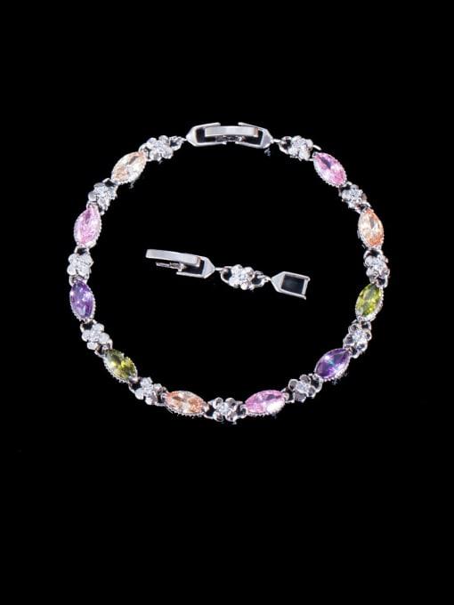 colour Brass Cubic Zirconia Geometric Luxury Bracelet