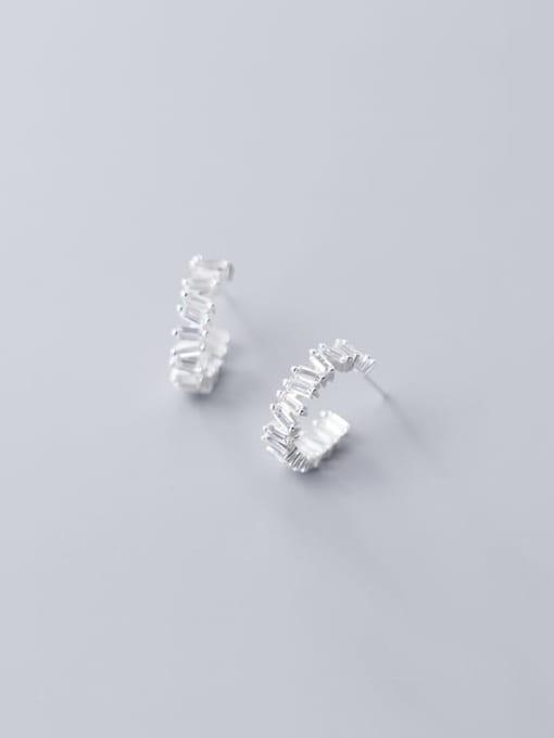 Rosh 925 Sterling Silver Cubic Zirconia Geometric Minimalist Stud Earring 3