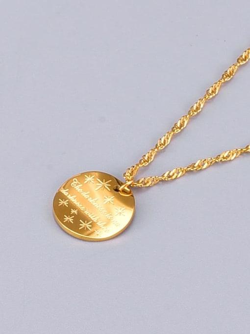 A TEEM Titanium Letter Minimalist round pendant Necklace