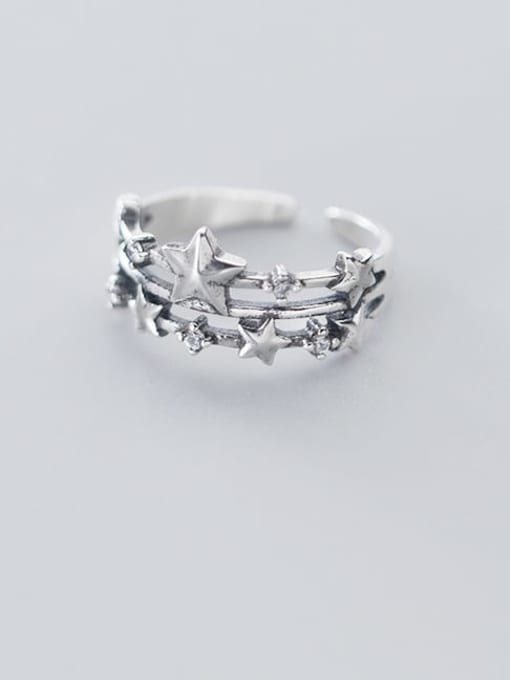 Rosh 925 sterling silver  vintage  simple  three-layer star  stackable ring 2