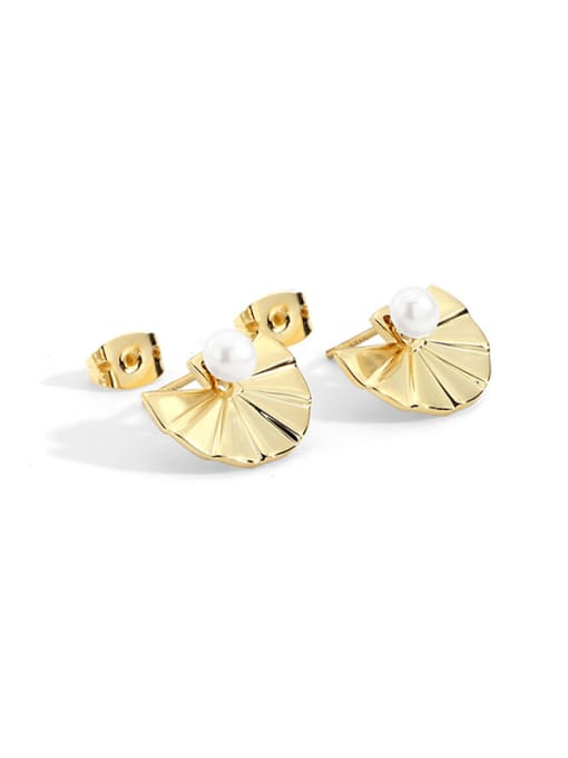 CHARME Bronze Imitation Pearl Geometric Vintage Stud Earring