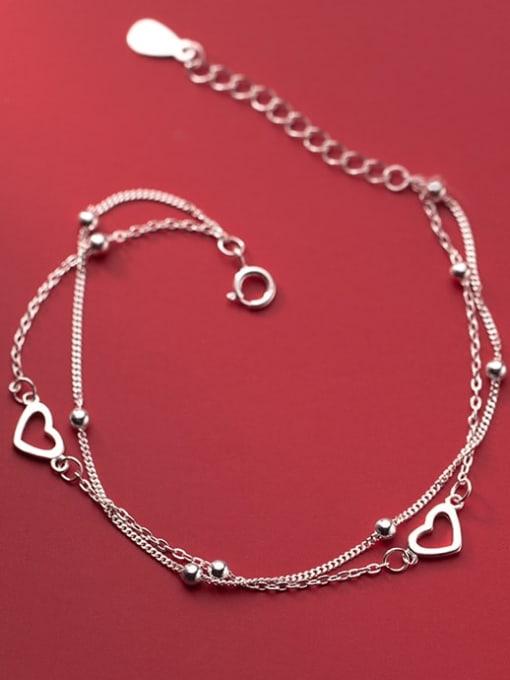 Rosh 925 Sterling Silver Heart Minimalist Strand Bracelet 0