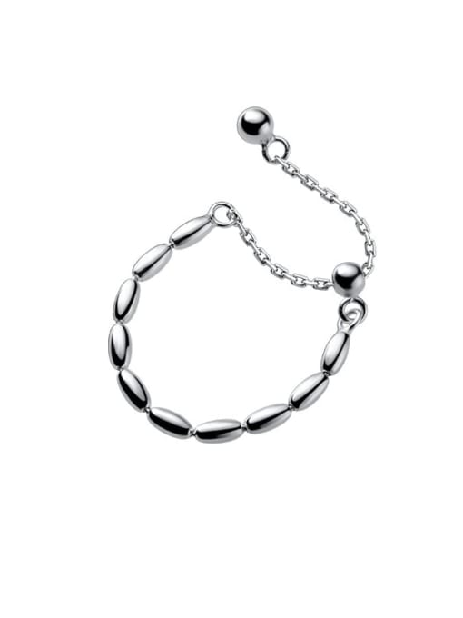 Rosh 925 Sterling Silver Bead Round Minimalist Band Ring