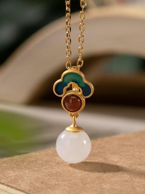 Pendant (without chain) 925 Sterling Silver Jade Enamel Flower Vintage Drop Earring