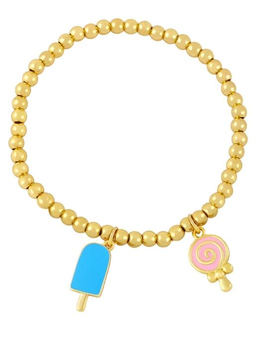 Light blue powder Brass Enamel Heart Vintage Beaded Bracelet