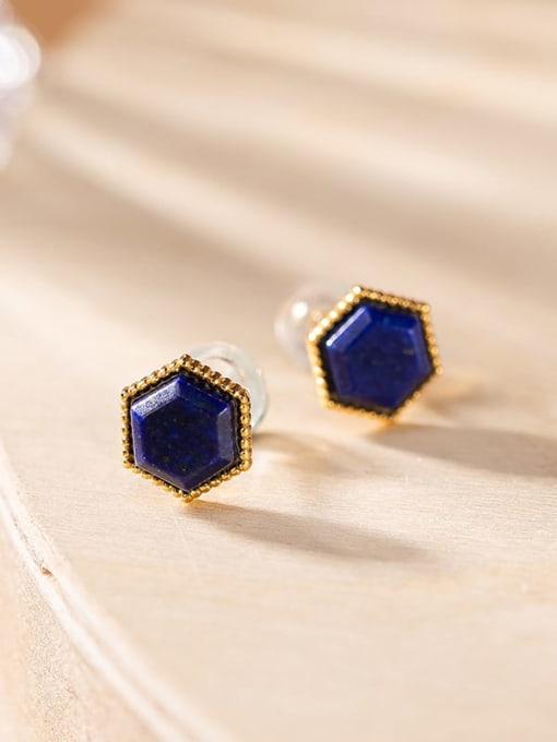 Hexagon 925 Sterling Silver Carnelian Geometric Minimalist Stud Earring