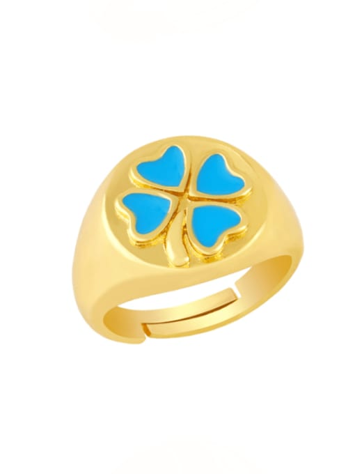 blue Brass Enamel Clover Vintage Band Ring