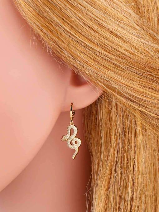 CC Brass Cubic Zirconia Snake Vintage Drop Earring 1