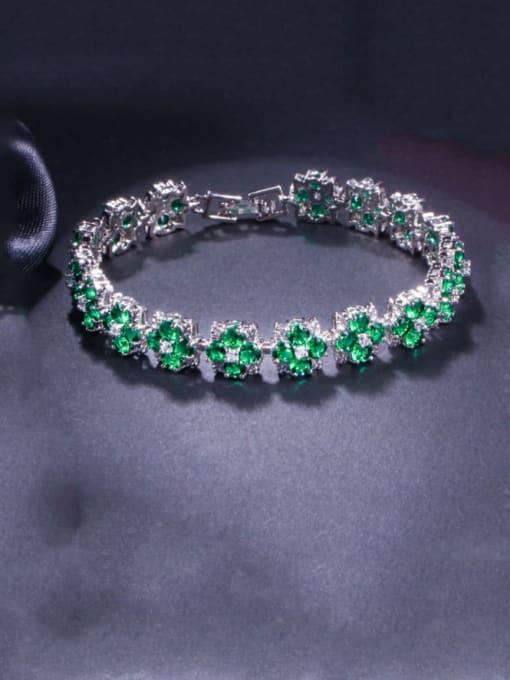 green Brass Cubic Zirconia Flower Dainty Bracelet