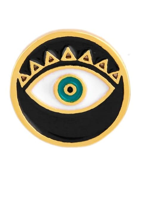 black Brass Enamel Evil Eye Ethnic Stud Earring