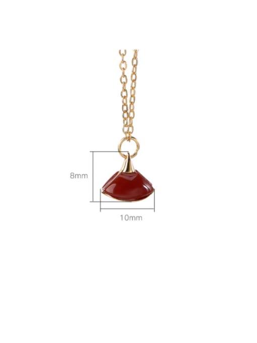 DEER 925 Sterling Silver Jade Triangle Vintage Necklace 3