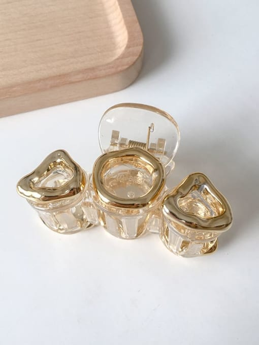 1 champagne gold 10cm Alloy Resin Vintage Geometric Jaw Hair Claw