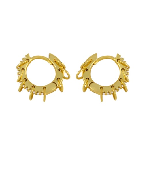 CC Brass Cubic Zirconia Geometric Hip Hop Huggie Earring