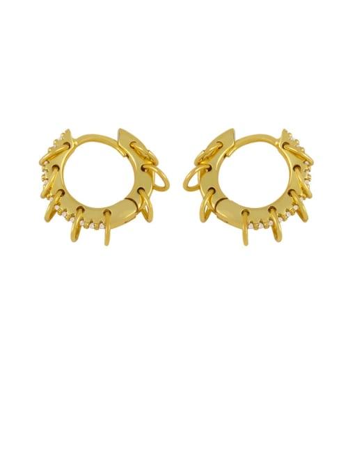 Picture color Brass Cubic Zirconia Geometric Hip Hop Huggie Earring