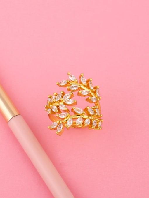 CC Brass Cubic Zirconia Leaf Vintage Band Ring