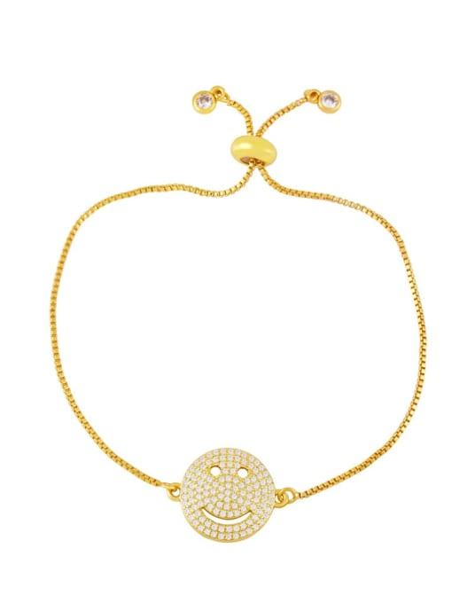 C Brass Enamel Smiley Vintage Bracelet