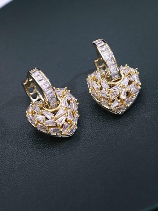 Golden white zirconium Brass Cubic Zirconia Heart Minimalist Drop Earring