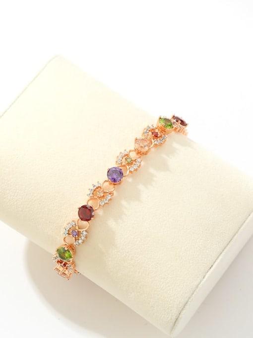 DUDU Brass Cubic Zirconia Multi Color Hollow Flower Dainty Bracelet 2