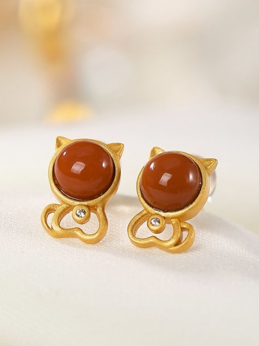 DEER 925 Sterling Silver Carnelian Cat Cute Stud Earring 3