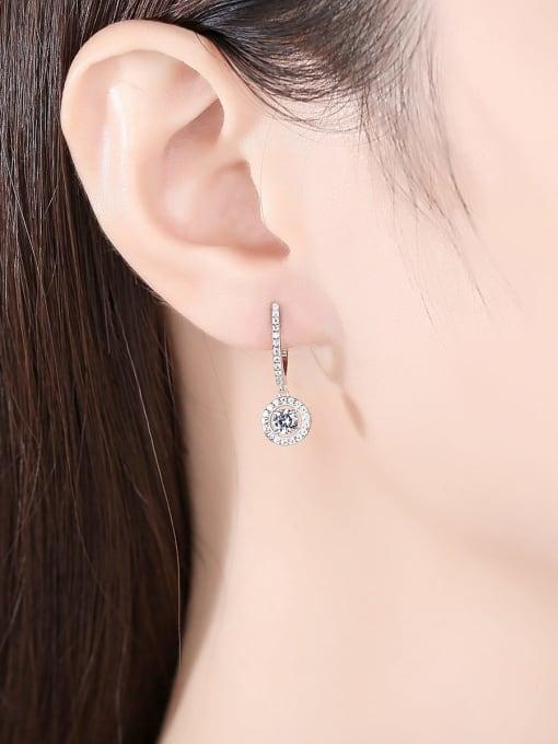 CCUI 925 Sterling Silver Cubic Zirconia Geometric Luxury Huggie Earring 1