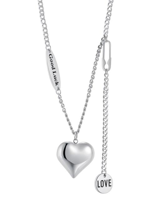 1995 steel Titanium Steel Heart Minimalist Lariat Necklace